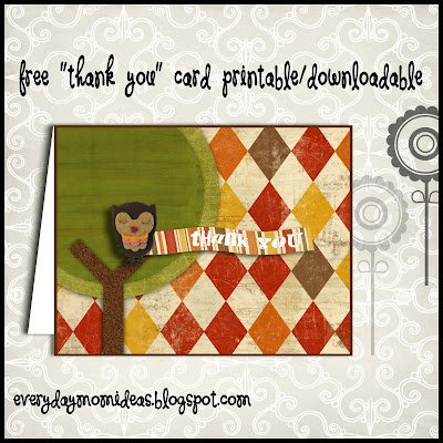 "Owl ""Thank You"" Card -FREE Printable/Download! by Everyday Mom Ideas"
