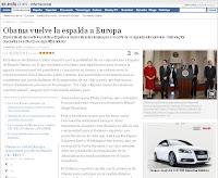 El Pais' headline 'Obama vuelve la espalda a Europa' (Photo: Screengrab)