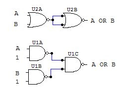 OR gate with NAND and NOR diagram
