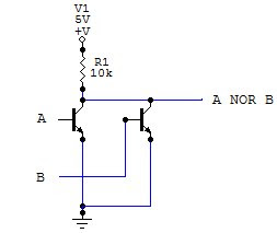 NOR logic gate made with transistors