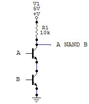 NAND logic gate made with transistors
