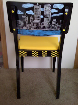 NYC Memorial folk art painted chair