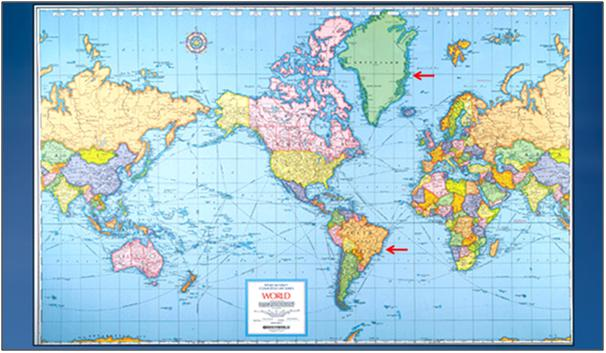 Mercators 500th birthday greenland vs south america do you remember the map of the world up on the wall when you were in school it probably looked something like this gumiabroncs Choice Image