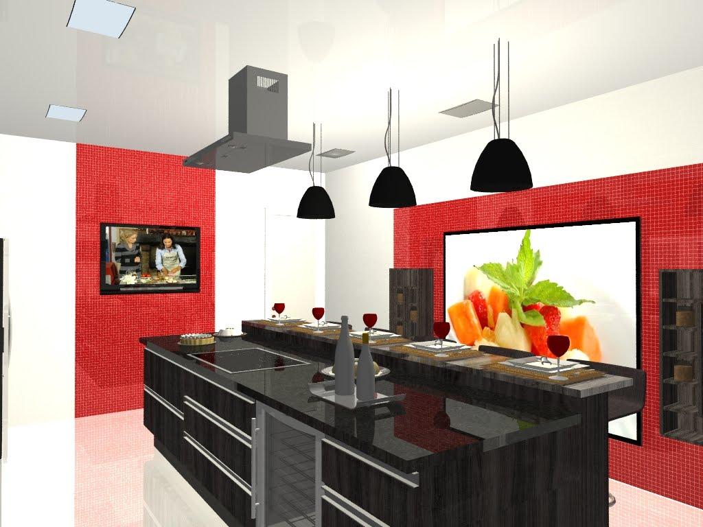 design de interiores.: Perspectivas em 3D Projeto: Cozinha Gourmet #BE5D0D 1024 768