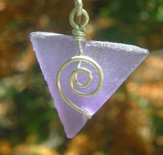 purple seaglass-like baby triangle earrings