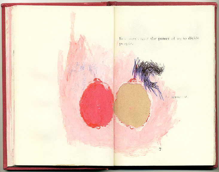 divide, And Other Observations, 2007. pen, acrylic & collage on altered book.