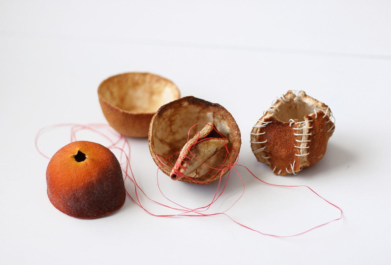 [orange studies], 2007. orange skin & thread.