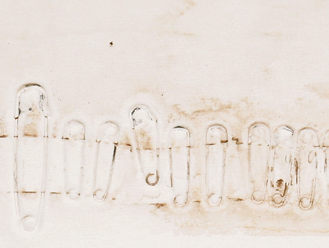 Pins (detail), 1998. monotype with embossment on Somerset printmaking paper. 33 x 54.6 cm