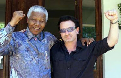 Bono with Morgan Freeman
