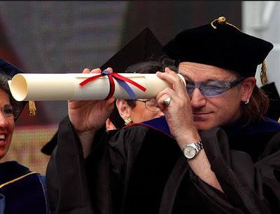 Bono (barely) graduates
