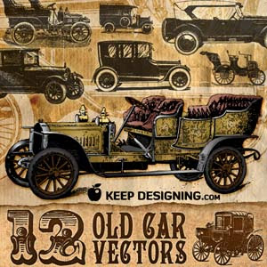 12 Old Car Vectors