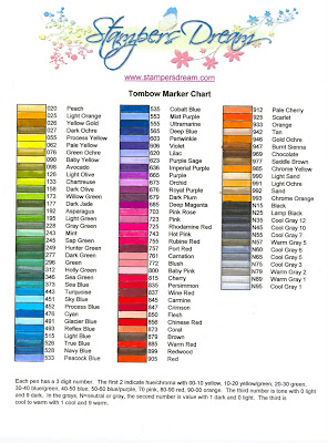 Stampers Dream Tombow Marker Chart - Tombow abt markers