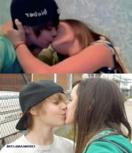 justin bieber kissing girlfriend