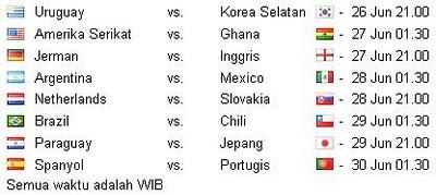 Jadwal Babak 16 Besar Piala Dunia 2010 di RCTI