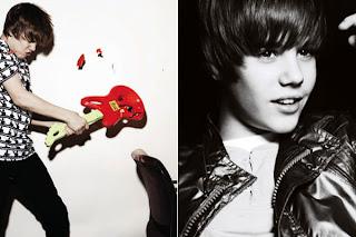 fotos de justin bieber uma com ele quebrando uma guitarra e a outra preto e branco