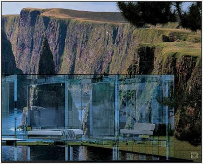Beautiful transparent house concrete art