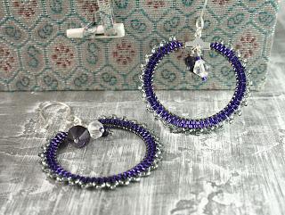 purple beaded hoops