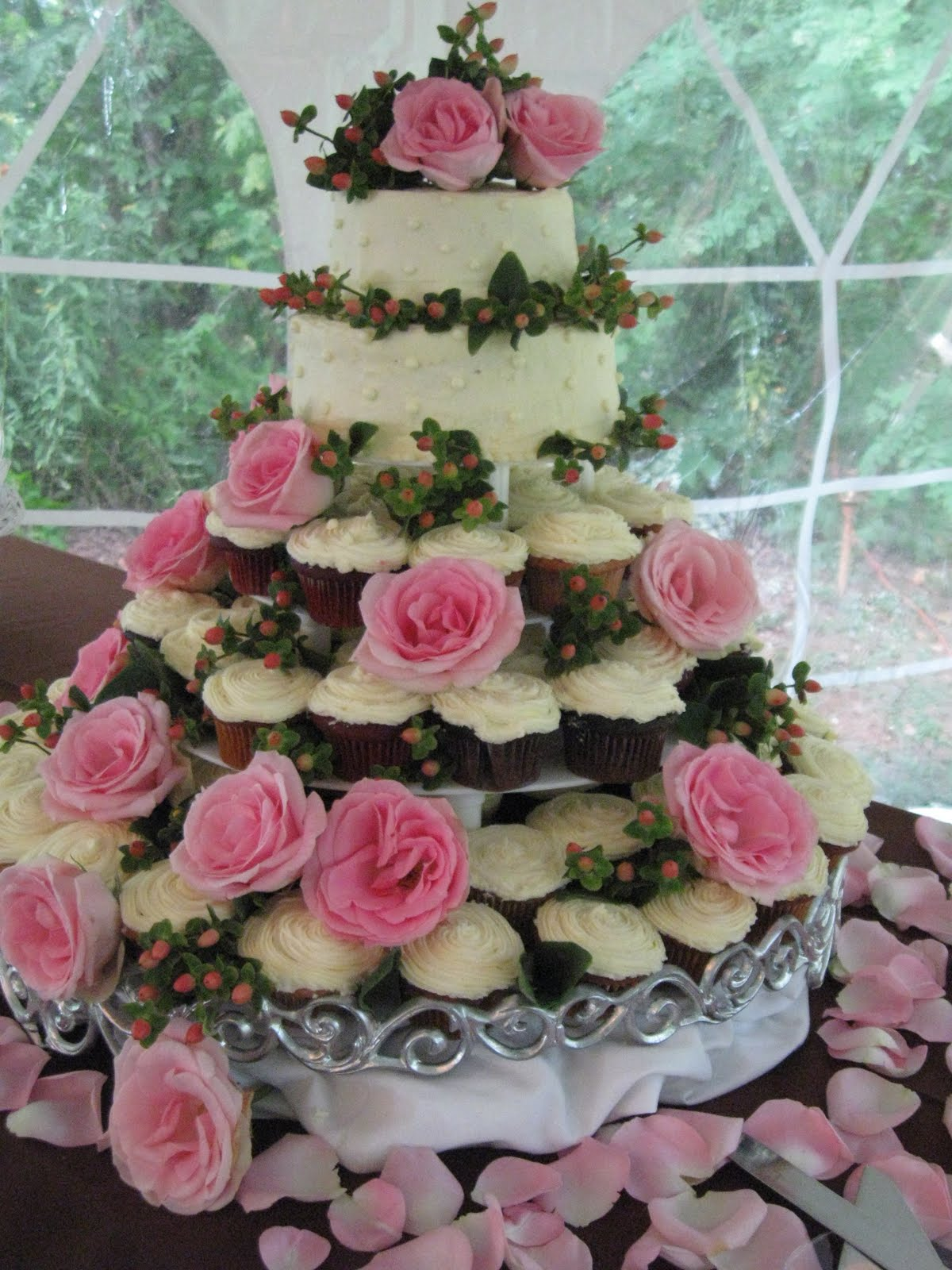 typical wedding cake or 3 tiers of cupcakes