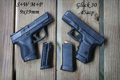 S&W M&P 9x19mm and Glock 30 .45ACP