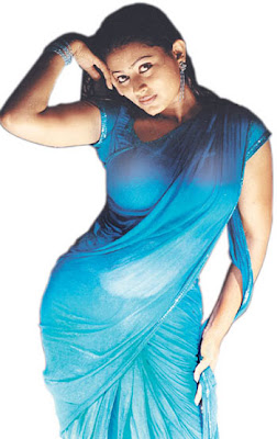 actress sneha in blue wet saree
