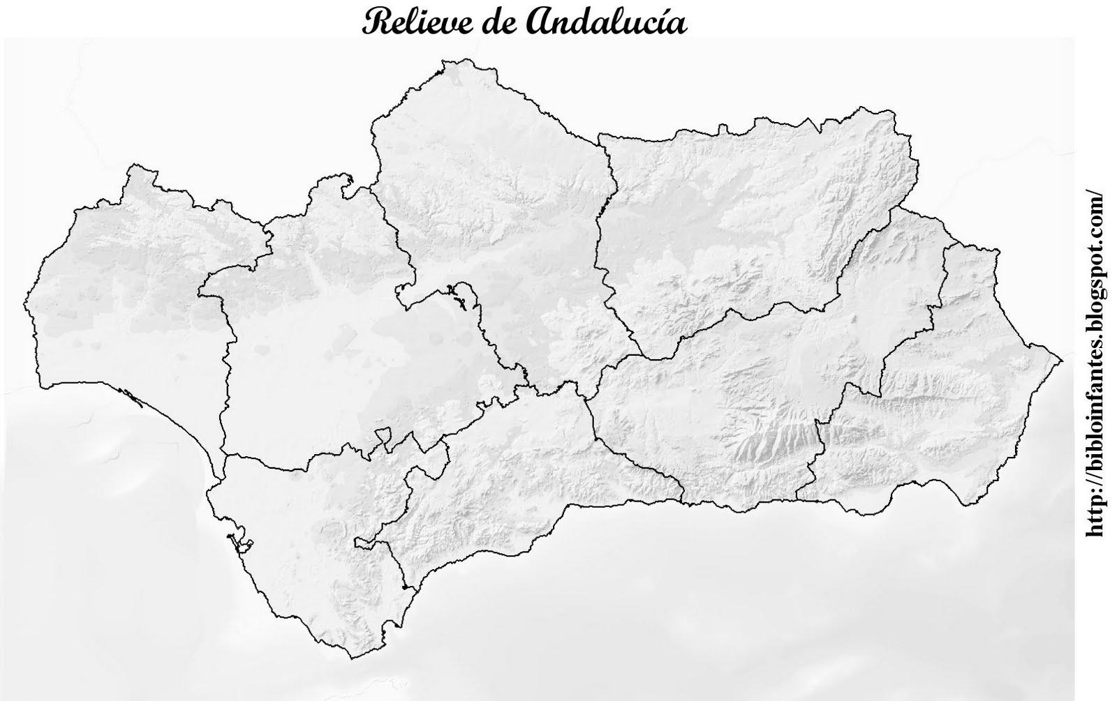 Mapa Mudo Rios Andalucia Imprimir