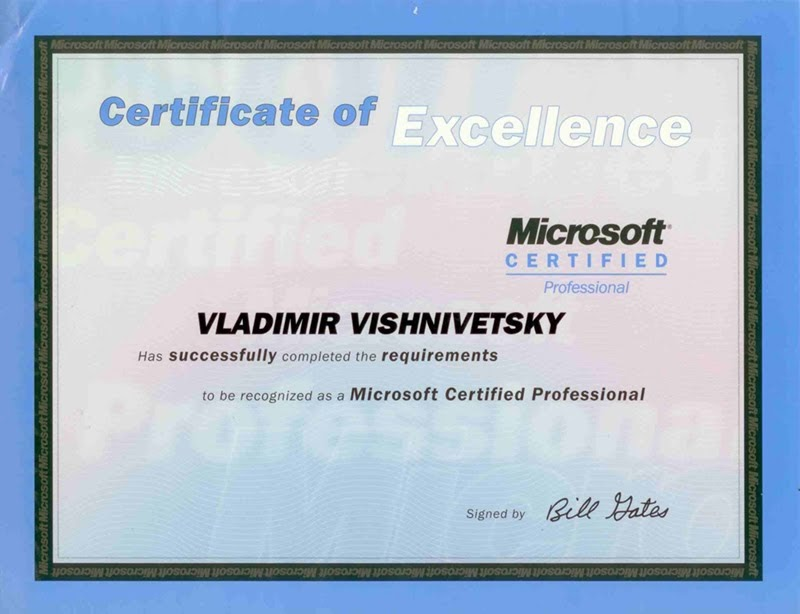 Vladimir Vishnivetsky Certificate 200208 Microsoft Certified
