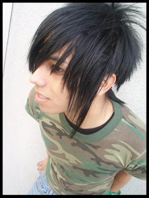 Picture of Short Red Highlights Black Wispy Hairstyle Emo Boy Hairstyles