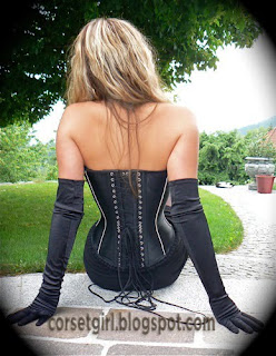ball-corset stockings and high heels