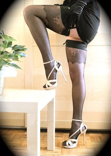 5inch stilettos, black stockings and garter belt