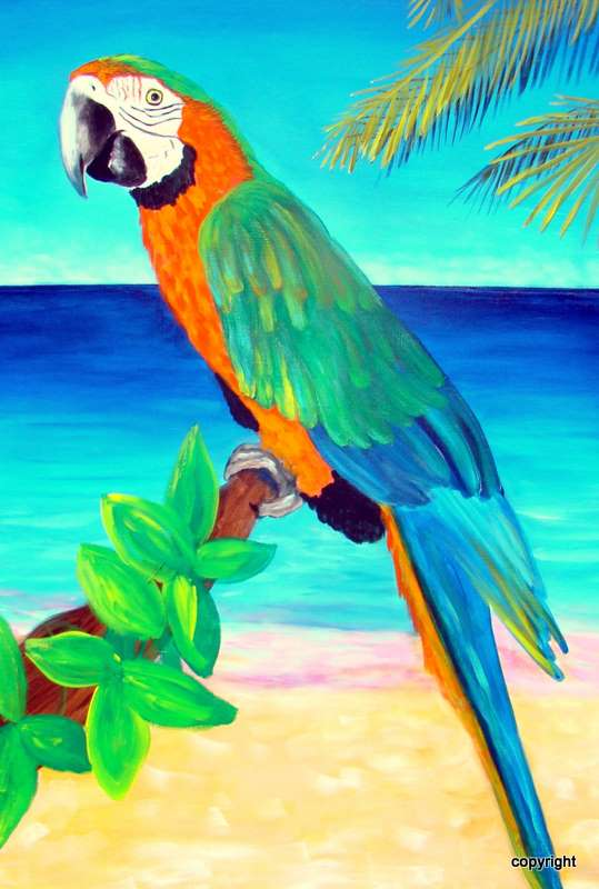 Green parrot painting - photo#16