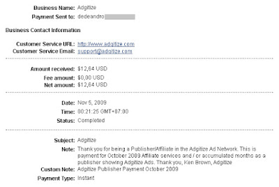 Adgitize Payment October 2009