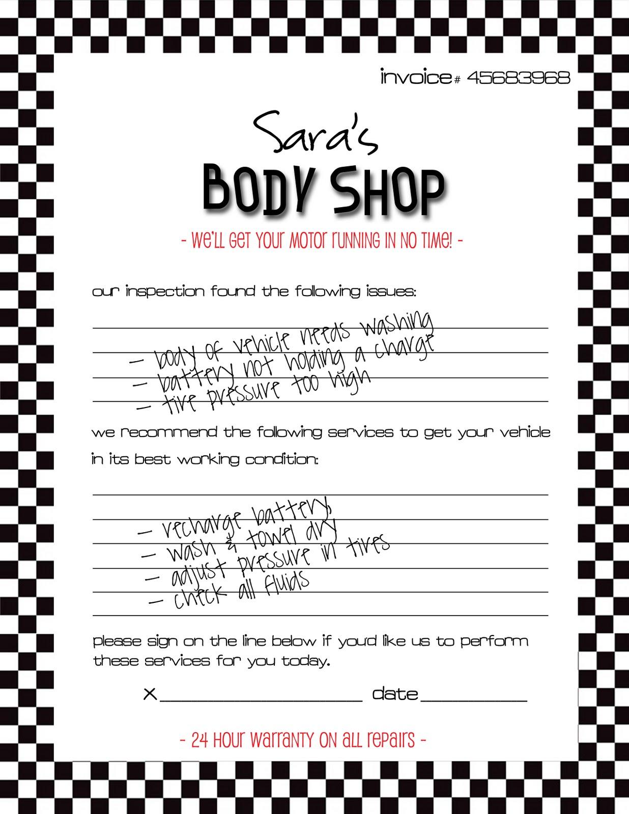 Auto Body Shop Invoice Template RicDesign Body Shop Invoice - Auto body shop invoice template