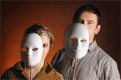 Man and woman behind masks