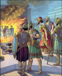Shadrach, Meshach and Abednego in the fiery furnace with the Son of God, image courtesy of Lavista Church of Christ