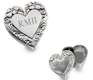 Pewter Engraved Floral Heart Box