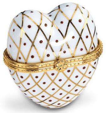 White & Gold Heart Shaped Hinged Porcelain Trinket Box
