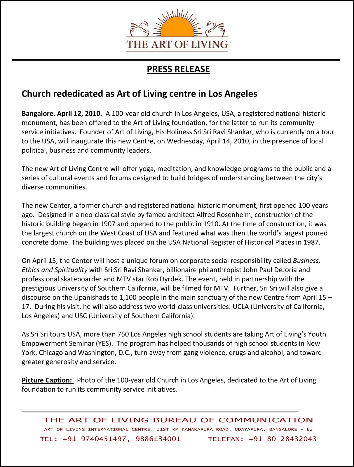 PRESS RELEASE : Church Rededicated As Art Of Living Centre In Los Angeles