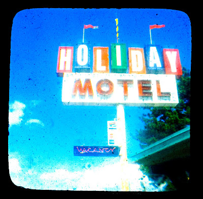 vintage hotel sign through the viewfinder