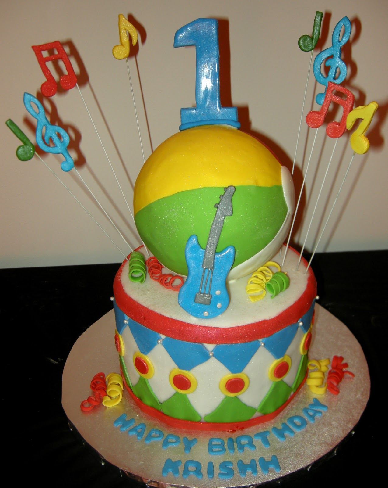First Birthday Musical Theme Cake