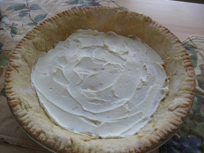 Once your pie crust is completely cool. Spread about 4 tablespoons of ...