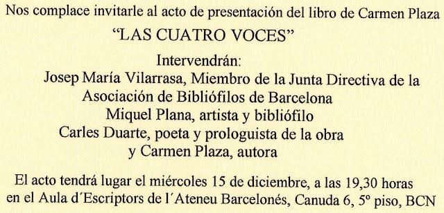 Presentación del libro LAS CUATRO VOCES de Carmen Plaza.