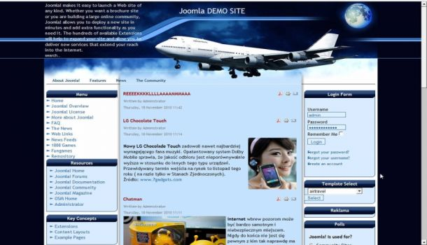 Air Travel Plane Blue Joomla Theme Template