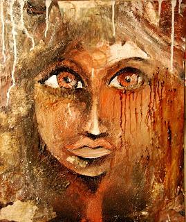 une peinture très matiérée un visage de femme aux larmes de café ! cette peinture a été réalisées par une illustratrice plasticienne peintre