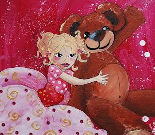 une petite princesse et son nounours en peluche ! cette peinture cette illustration a été réalisée par l'illustratrice laure phelipon