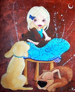 princesse fée avec trois chiens illustration illustratrice