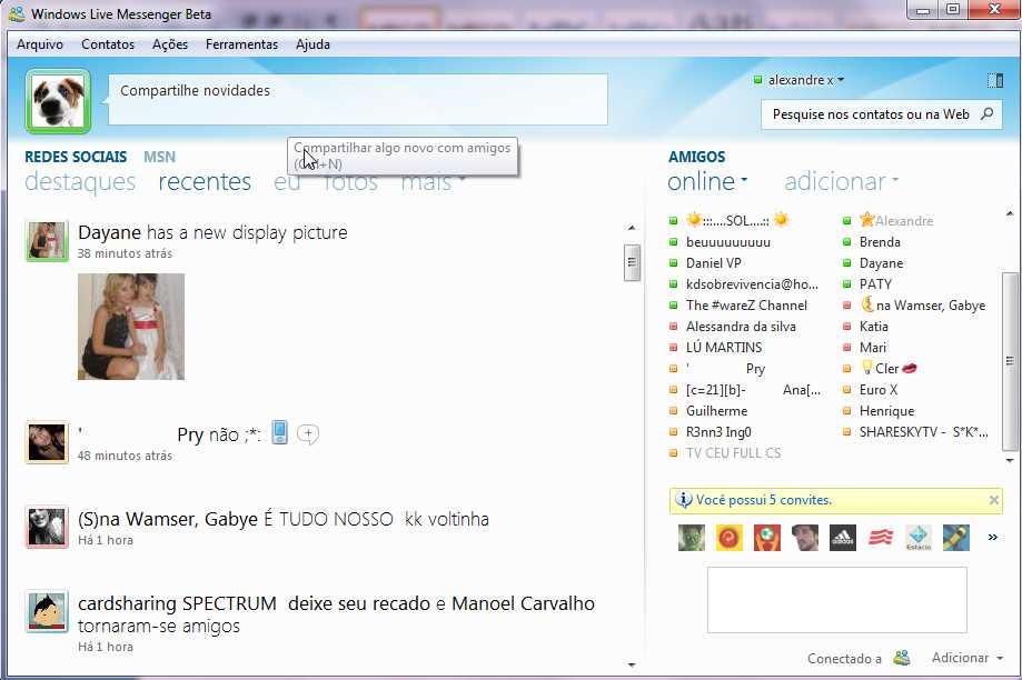 Screenshots of Windows Live Messenger (formerly MSN Messenger)