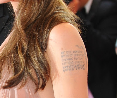 Angelina Jolie is sporting a new tattoo. Just like Brad Pitt, Angelina Jolie