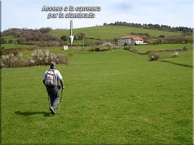 Se cruza el prado hasta la carretera