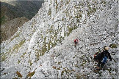 Fuerte desnivel durante el descenso
