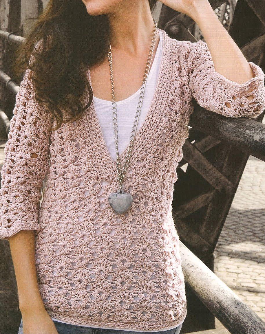 Tejiendo con Google: Sueter Crochet Escote V